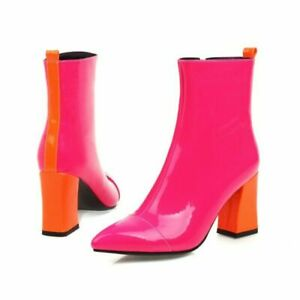 Ladies Pointed Toe Shoes Patent Leather High Heel Zip Up Ankle Boots Biker Shoes