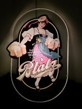 Vintage Blatz Beer Heileman Brewing lighted Display Sign 1986 Valerie Girl