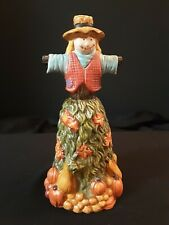 Fall Thanksgiving Scarecrow Bell Porcelain Figurine