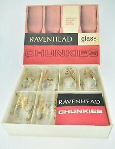 Vintage 1960s 6 x Ravenhead Glass Chunkies In Original Box Great Condition