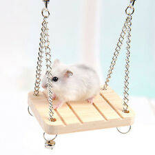 Wooden Hamster Toy Swing Rat Bird Mouse Exercise Cage Hang Bell Pet Play Toys
