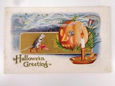 Vtg Whitney Halloween Greetings Postcard Mice Witch Jol Candlestick
