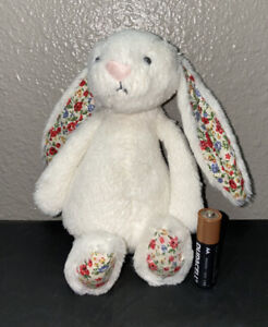 Jellycat Mini White Bashful Bunny Rabbit Blossom Flower Floral Ears Plush Toy 8""