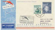ÖSTERREICH AUA ERSTFLUG 1958 WIEN – LONDON (Stempel-Nr. 1), K2 WIEN 101