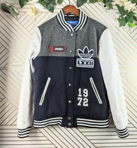 Adidas Originals Badge Bomber Jacket Size Small Mens Navy white sleeves