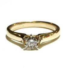 14k yellow gold .31ct SI2 K round diamond solitaire engagement ring 3.8g estate