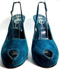 AUTHENTIC CASADEI Blue Suede Peep Toe Heeled Pump Size 10