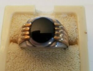 Sterling Silver & 14 - Men's Ring Signed DB - Black Onyx - Size 9