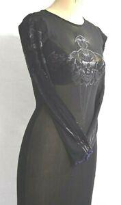 Spanki Dress Purple Skull Axe Mesh  Sheer Long Sleeved Deadstock K2K