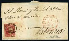 ESPAÑA ENVUELTA 17 VILLA REAL A VALENCIA. AGOSTO 1853