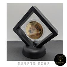 Dogecoin Gold Krypto Münze mit schwarzen Display NEU