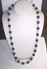 12MM LAPIS / CULTURED PEARL NECKLACE- ESTATE CLEARANCE SALE, CLOSE OUT, BUY NOW
