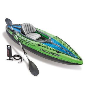 Intex Sports Challenger K1 1 Seat Inflatable Kayak Floating Boat Oars River/Lake
