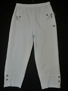 Cotton Mix Ladies Cropped Trousers Pockets 9 Colours Sizes:12 14 16 18 20 22 24