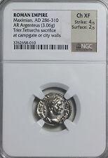 Maximian 286-310 AD AR Silver Argentius Trier NGC Ancient Roman Argenteus Coin
