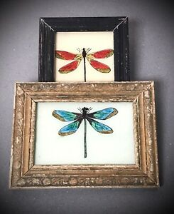 VINTAGE INDIAN REVERSE GLASS PAINTINGS. PAIR OF DRAGONFLIES. ART DECO FRAMES