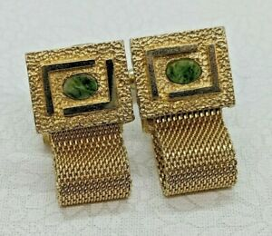 Vintage Dante Mid Century Cufflinks Gold Tone Mesh Wrap Oval Jade Stone Mens
