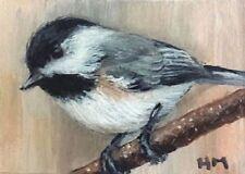 Chickadee Bird painting, Wildlife, Bird, Original, listed by Artist, ACEO,