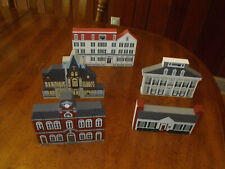 Mixed Lot 5 The Cat'S Meow Village Series Wooden Buildings Vguc