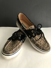 Womens Sperry Leopard Print Top Sider Boat Shoes Size 9 M