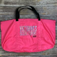Victoria's Secret Sport Large Hot Bright Neon Pink Black Duffle Travel Gym Bag