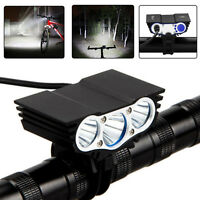 20000LM 3 LED Rechargeable Bicycle Lamp Bike Handlebar Front Torch Headlight USA