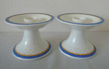 Pair of Villeroy & Boch Blue & White Candlesticks Julie Pattern made in Germany