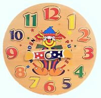 Wooden Puzzle Clock Clown Design Jigsaw Children Learn Colour Time & Number Gift