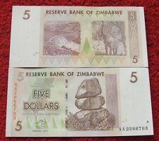 ZIMBABWE 5 DOLLARS 2007 YEAR SERIES AA UNC FIVE DOLLARS