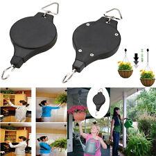 2X Retractable Pulley Hanging Basket Pull Down Hanger Garden Baskets Pots Hook