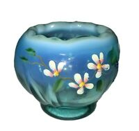Fenton Art Glass TEAL Hand Painted Daisy Flower Basket Bowl Artist Signed