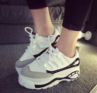 Womens Platform Shoes Creeper High Wedge Heel Lace Up Athletic Sneakers Fashion