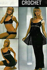 LADIES CROCHET PATTERN VINTAGE LADIES 4pc BEACH SET BIKINI, DRESS & TROUSERS