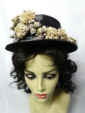 Vintage Woman's Black Straw Hat With Fabric Flowers - Fragile