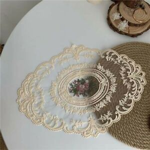 Oval Floral Lace Embroidered Placemat Doilies Table Runner Mats Cover Home Decor