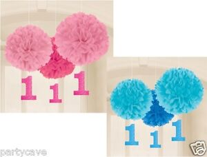 1st First Birthday Party Pink Blue 3 Pack Fluffy Hanging Paper Ball Decoration