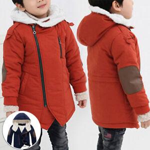 Winter Warm Kids Boys Padded Jackets Fleece Lined Hooded Cotton Coats Outwear