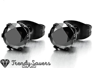 Women Men Surgical Steel Big Large Round Black Cubic Zirconia Stud Earrings 8MM