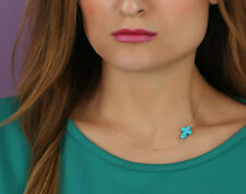New Jewerly Simple Gold Tone Sideways Turquoise Cross Necklace Blue