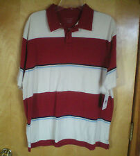 NWT NEW mens size L 42/44 dark red cream blue striped s/s polo shirt free ship
