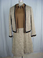 """Shannon Rodgers/Jerry Silverman""Vtg 60s Brown/Black Dress Set-Bust 38/M"