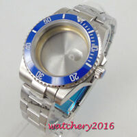 40mm parnis Blue Ceramic Bezel Sapphire Glass Watch Case fit 8215 2836 movement