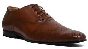 Vincintini Mens Smart Casual Perforated Derby Leather Shoe In Tan Size UK 6 - 12