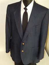 Vtg LANVIN Men's NAVY BLUE Jacket LoGo Gold Button Sport Coat Wool Blazer 44 L