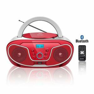 Roxel RCD-S70BT Boombox CD Player with Bluetooth, Remote Control, Radio, Red
