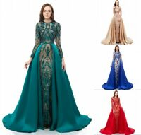 Detachable Train Mermaid Evening Dress Sequined Party Pageant Carpet Prom Gown
