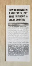 How To Survive In A Nuclear Fallout Zone Without A Geiger Counter - G. Ziegler