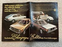 2-Page 1977 VW Champagne Edition Print Ad~ Rabbit, Bus, Beetle, Scirocco, Dasher