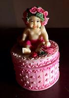 """VINTAGE Porcelein Figurine BABY ANGEL Keepsake Box ROSES 2.5"""" Diameter"""