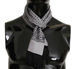 DOLCE & GABBANA Scarf Silver Baroque Tassel Mens Silk Shawl 16cm x140cm RRP $300